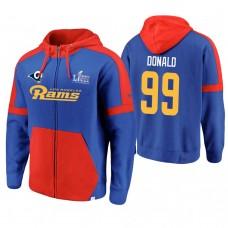 Los Angeles Rams #99 Aaron Donald Royal Super Bowl LIII Full-Zip Hoodie