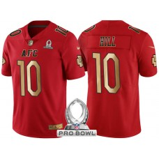 Kansas City Chiefs #10 Tyreek Hill AFC 2017 Pro Bowl Red Gold Limited Jersey