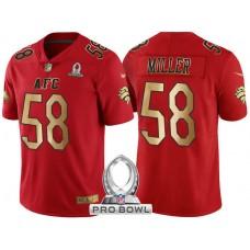 Denver Broncos #58 Von Miller AFC 2017 Pro Bowl Red Gold Limited Jersey