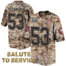 San Francisco 49ers #53 NaVorro Bowman Khaki Desert Camo Salute to Service Jersey
