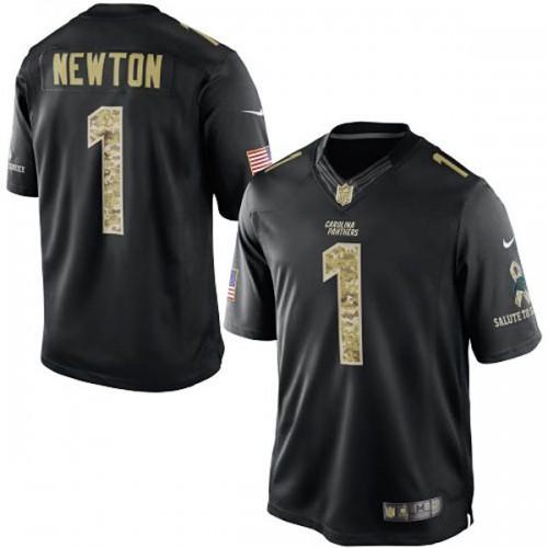 Carolina Panthers #1 Cam Newton Black Salute To Service Jersey