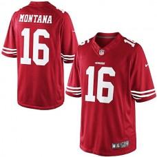 Joe Montana Scarlet San Francisco 49ers #16 Retired Player Limited Jersey