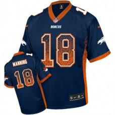 Denver Broncos #18 Peyton Manning Navy Blue Drift Fashion Jersey