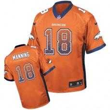 Denver Broncos #18 Peyton Manning Orange Drift Fashion Jersey