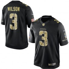 Seattle Seahawks #3 Russell Wilson Black Salute To Service Jersey