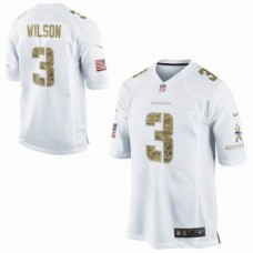 Seattle Seahawks #3 Russell Wilson White Salute To Service Jersey