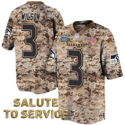 Seattle Seahawks #3 Russell Wilson Salute to Service Digital Camo ...