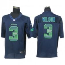 Seattle Seahawks #3 Russell Wilson Navy Blue Fashion Strobe Jersey