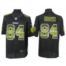 Pittsburgh Steelers #84 Antonio Brown Black Fashion Strobe Jersey