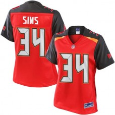 Women's Pro Line Charles Sims Red Tampa Bay Buccaneers #34 Jersey
