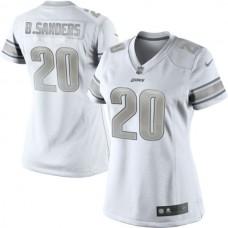 Women's Detroit Lions #20 Barry Sanders White Platinum Jersey