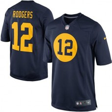 Youth Green Bay Packers #12 Aaron Rodgers Navy Blue Game Football Jersey