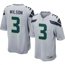 Youth Seattle Seahawks #3 Russell Wilson Gray Alternate Game Jersey