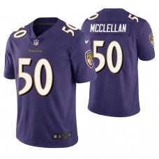 Baltimore Ravens #50 Albert McClellan Purple Vapor Untouchable Limited Jersey