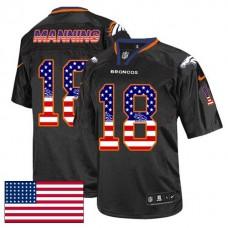 Denver Broncos #18 Peyton Manning Black USA Flag Fashion Jersey