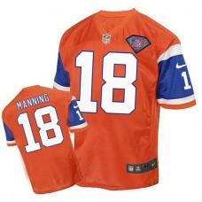 Denver Broncos #18 Peyton Manning Orange 75th Patch Throwback Jersey