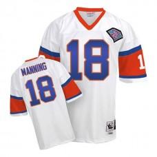 Denver Broncos #18 Peyton Manning White 75th Patch Throwback Jersey