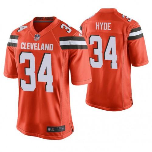 Cleveland Browns #34 Carlos Hyde Orange Alternate Game Jersey