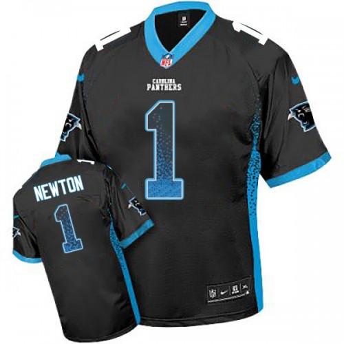 Carolina Panthers #1 Cam Newton Black Drift Fashion Jersey