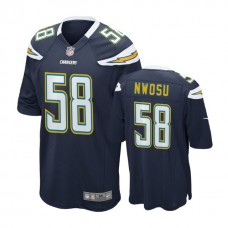 Los Angeles Chargers #58 Uchenna Nwosu Navy 2018 Draft Pick Game Jersey