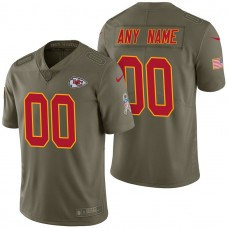 Kansas City Chiefs Olive 2017 Salute to Service Limited Customized Jersey