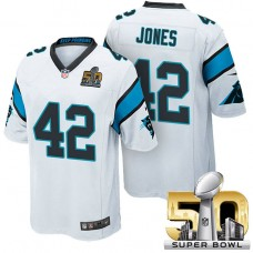 NFC Champions Carolina Panthers #42 Colin Jones White 2016 Super Bowl 50 Limited Jersey