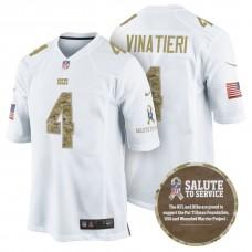 Indianapolis Colts #4 Adam Vinatieri White Camo Salute to Service Jersey