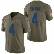 Indianapolis Colts #4 Adam Vinatieri Olive 2017 Salute to Service Limited Jersey