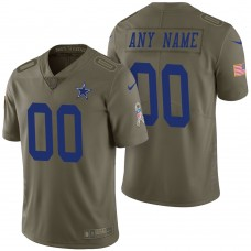 Dallas Cowboys Olive 2017 Salute to Service Limited Customized Jersey