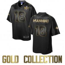 Denver Broncos #18 Peyton Manning Super Bowl 50 Black Gold Collection Jersey