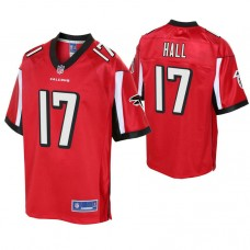 Youth Atlanta Falcons #17 Marvin Hall Red Player Pro Line Jersey