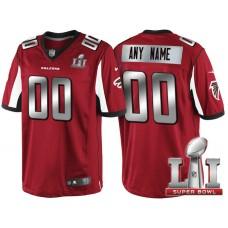 2017 Super Bowl LI Silver Atlanta Falcons Red Limited Customized Jersey