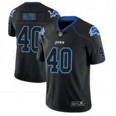 Detroit Lions #40 Jarrad Davis 2018 Lights Out Color Rush Limited Black Jersey