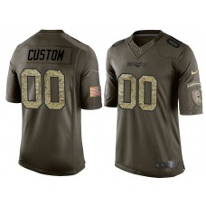 New England Patriots Olive Camo Salute to Service Customized Jersey