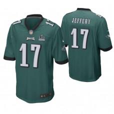 Philadelphia Eagles #17 Alshon Jeffery Midnight Green Super Bowl LII Champions Patch Game Jersey