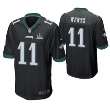 Philadelphia Eagles #11 Carson Wentz Black Super Bowl LII Champions Patch Game Jersey