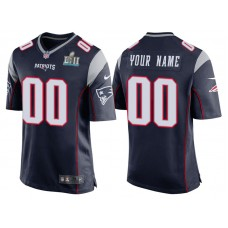New England Patriots Navy Super Bowl LII Bound Game Customized Jersey