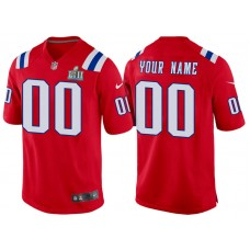 New England Patriots Red Super Bowl LII Bound Game Customized Jersey