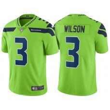 Seattle Seahawks #3 Russell Wilson Neon Green Vapor Untouchable Color Rush Limited Player Jersey