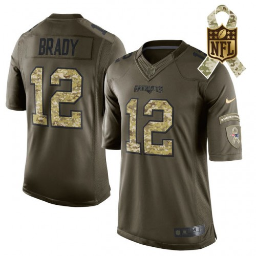 New England Patriots #12 Tom Brady Camo Salute To Service Limited ...