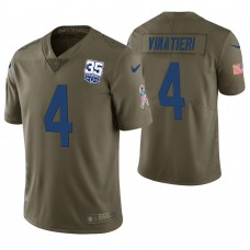 Indianapolis Colts #4 Adam Vinatieri Olive 35th Anniversary Salute to Service Limited Jersey