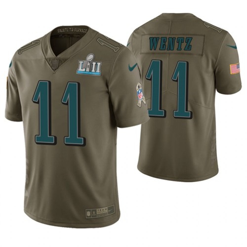 Carson Wentz Philadelphia Eagles Salute To Service Limited Jersey - Olive
