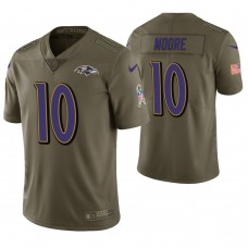 Baltimore Ravens #10 Chris Moore Olive Salute to Service Jersey