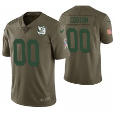 Green Bay Packers Olive 100th Anniversary Salute to Service Customized Jersey