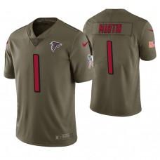 Atlanta Falcons #1 David Martin Olive Salute to Service Jersey