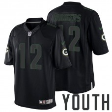 Youth Green Bay Packers #12 Aaron Rodgers Black Impact Limited Jersey