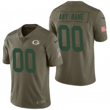 Green Bay Packers Olive 2017 Salute to Service Limited Customized Jersey