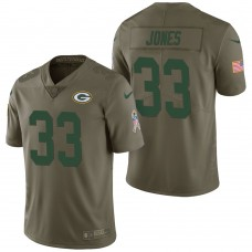 Green Bay Packers #33 Aaron Jones Olive 2017 Salute to Service Limited Jersey