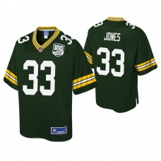 Youth Green Bay Packers #33 Aaron Jones 100th Anniversary Pro Line Player Green Jersey