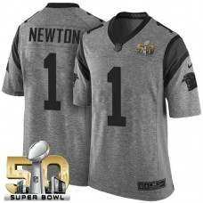 2016 Super Bowl 50 Carolina Panthers #1 Cam Newton Gridiron Gray Limited Jersey